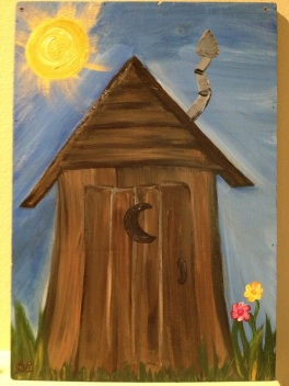 acrylic painting--an outhouse to put on the door of the outhouse