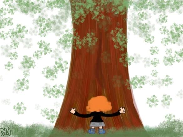 Lil' Girl hugs a Redwood