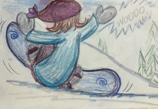 Lil Girl snowboard sliding out