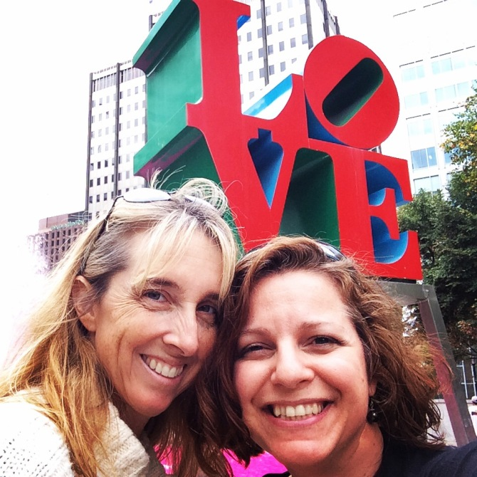 Cat and I in front of Love sign in Love Park