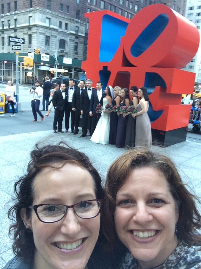 Kate and I in front of Love sign in NYC