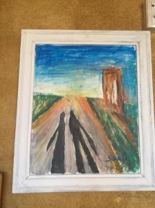 Art at Albergue San Miguel - pilgrims shadows along the trail