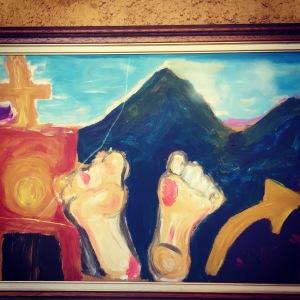 Art at Albergue San Miguel -sore feet and crosses