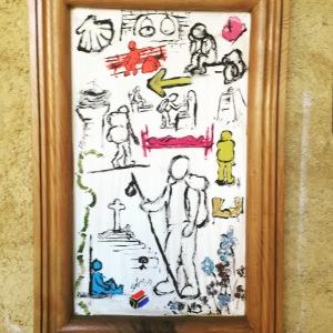 Art at Albergue San Miguel pilgrims symbols