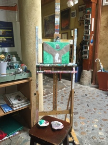 Art at Albergue San Miguel - my painting in progress